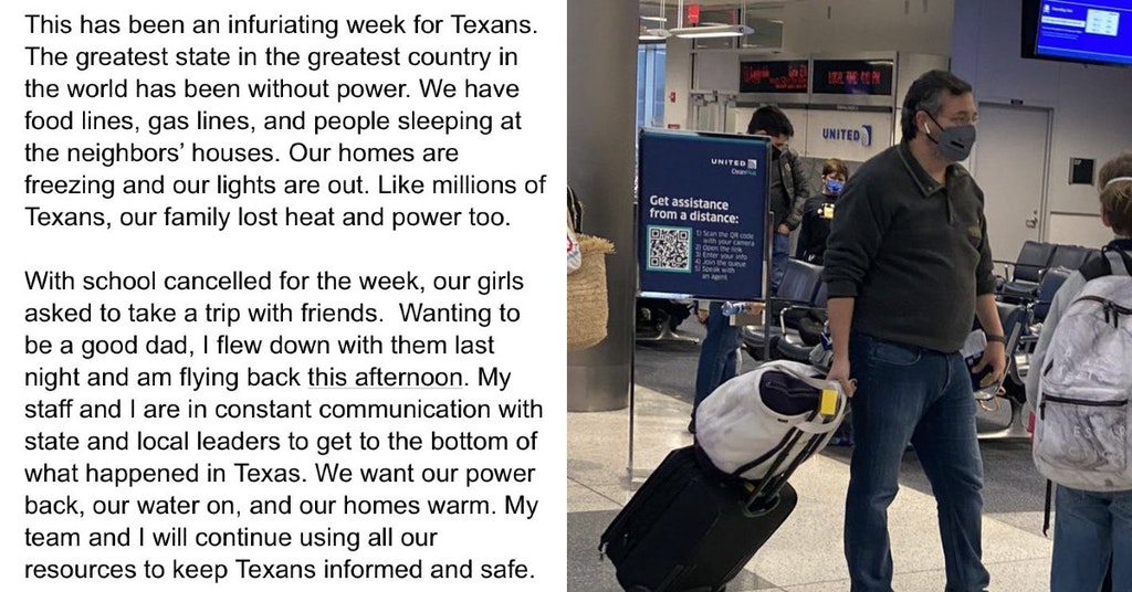 Ted Cruz statement on Cancun trip and photo of him at the airport