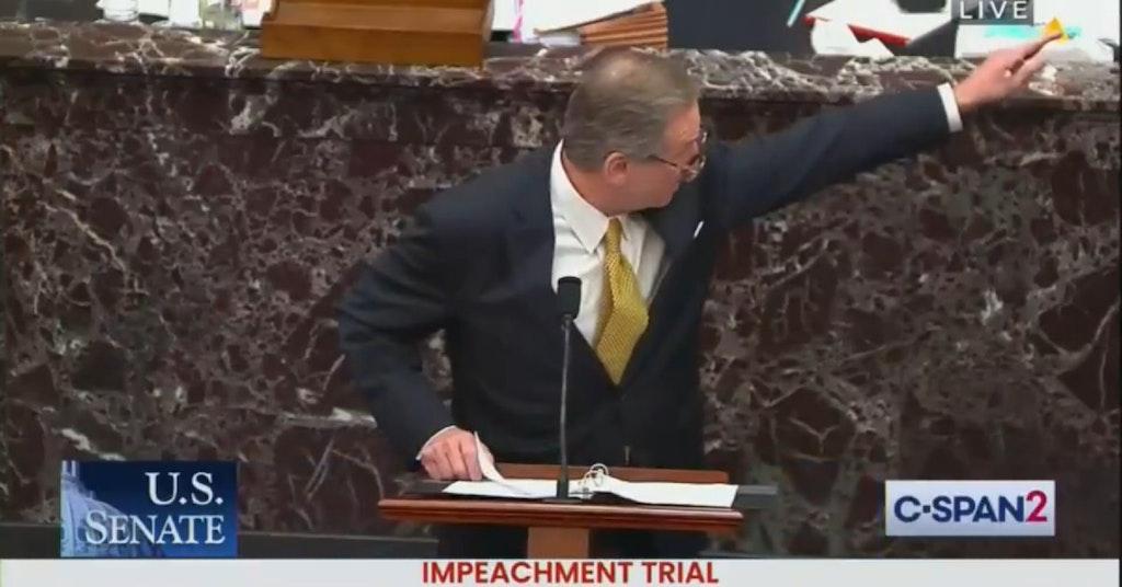 Lawyer Michael van der Veen defending Donald Trump during his second impeachment trial