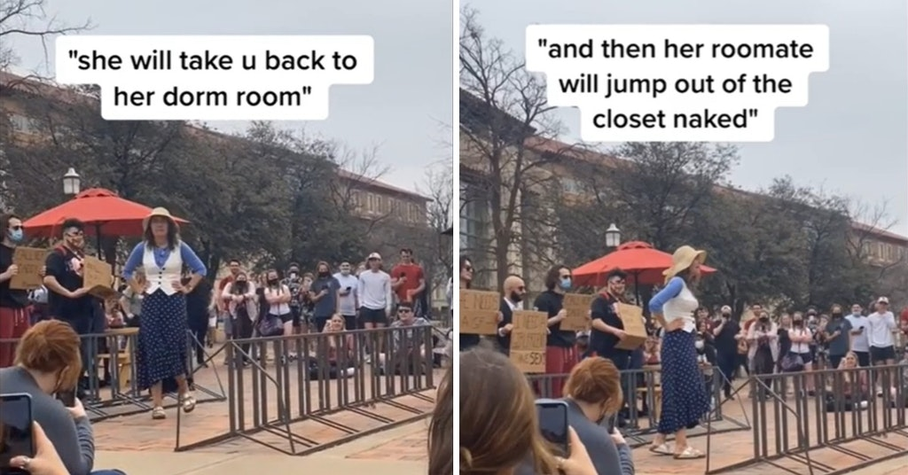 """Video of campus preachers warning college men that women will """"take you back to her dorm"""" to her naked roommate in the closet"""