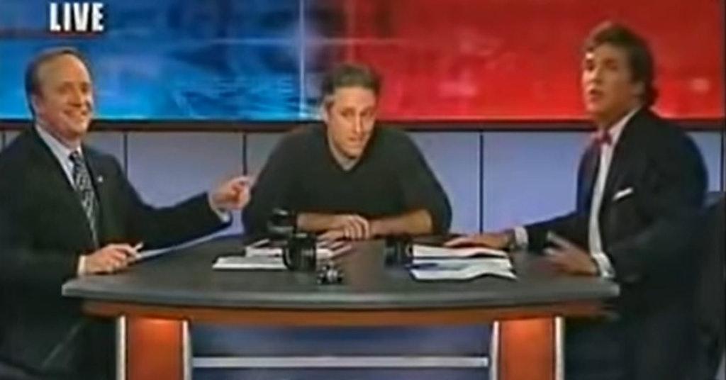 Jon Stewart with Tucker Carlson and Paul Begala on CNN's CrossFire in 2004