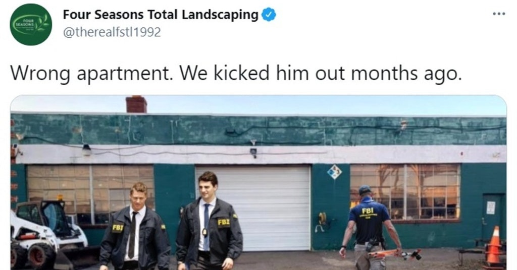 Four Seasons Total Landscaping tweet referencing Rudy Giuliani's home and office getting searched by the FBI
