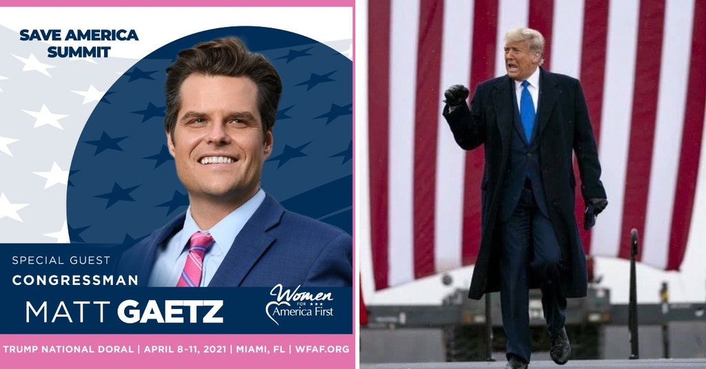 Women for America First ad featuring Rep. Matt Gaetz and photo of Donald Trump