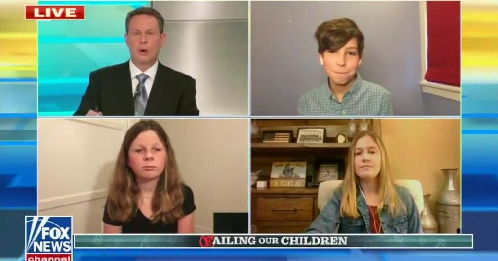Fox News segment with Brian Kilmeade interviewing three school kids
