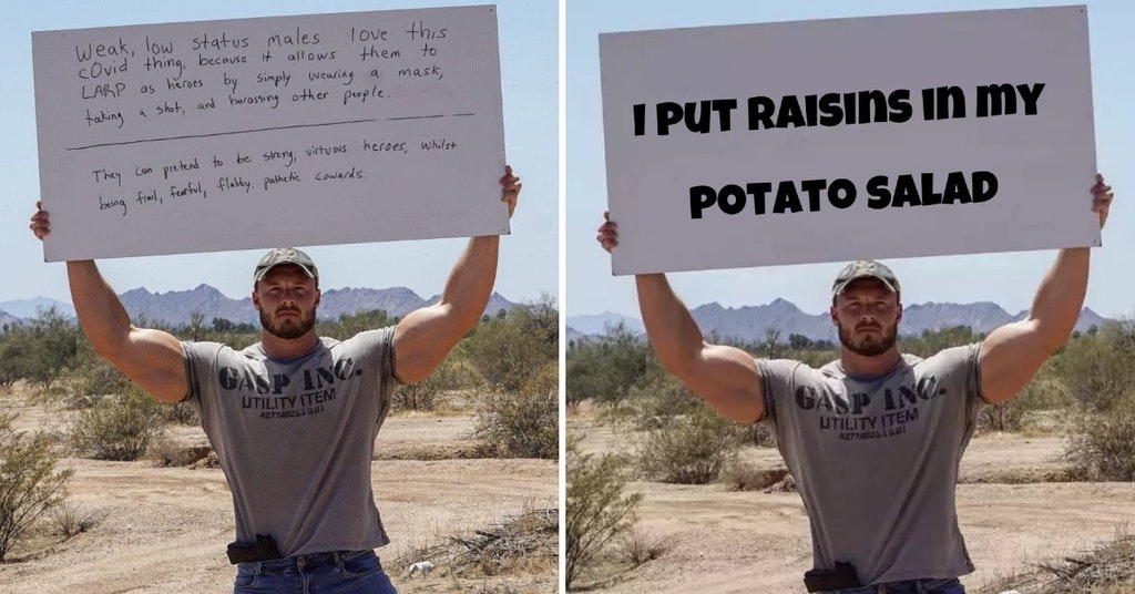 Bodybuilder holding up a sign calling non-COVID-denying men weak and Photoshopped version saying he puts raisins in potato salad