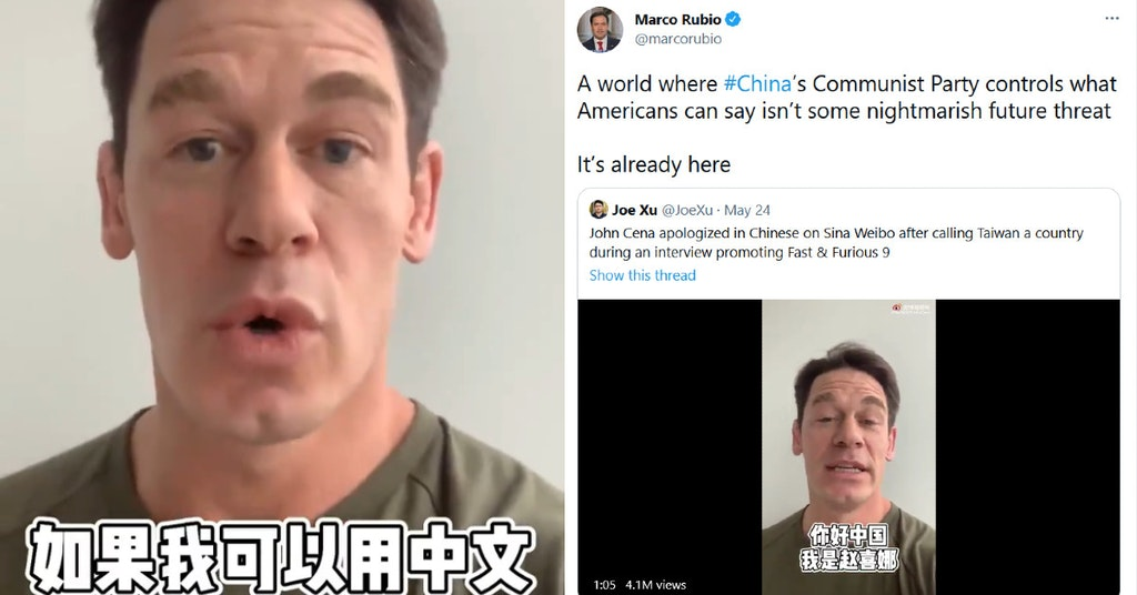 John Cena apologizing to China in Mandarin and Marco Rubio tweet being mad about it