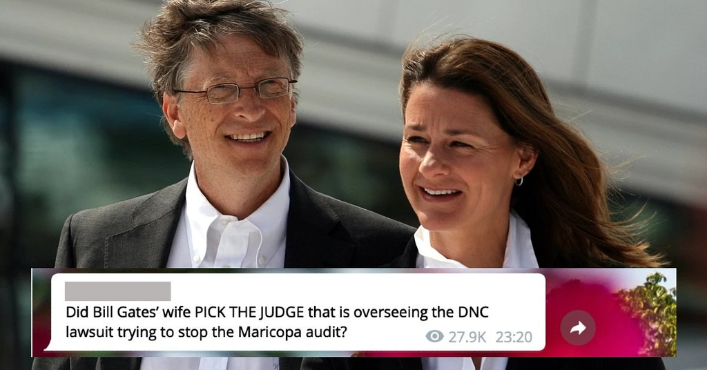 Bill and Melinda Gates with QAnon conspiracy theory message