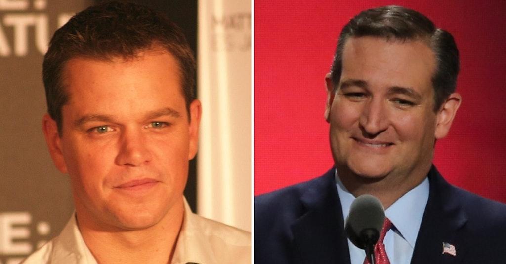 Matt Damon and Senator Ted Cruz
