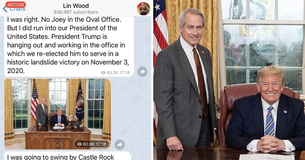 Lin Wood posing with Donald Trump in the Oval Office and Telegram messages claiming he wandered the White House looking for Biden