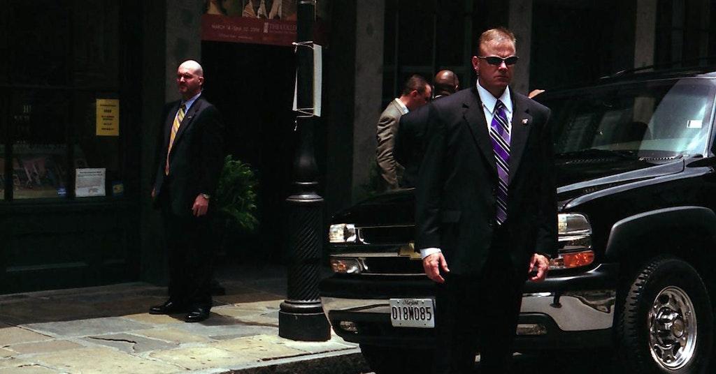 Secret Service agents standing guard