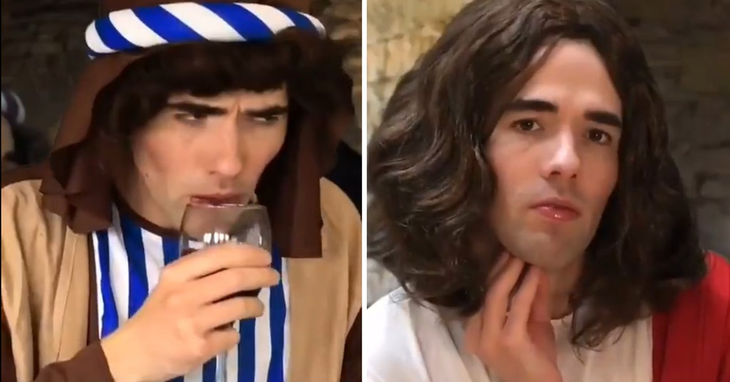 Adrian Bliss as Jesus and a disciple in wine snob TikTok video