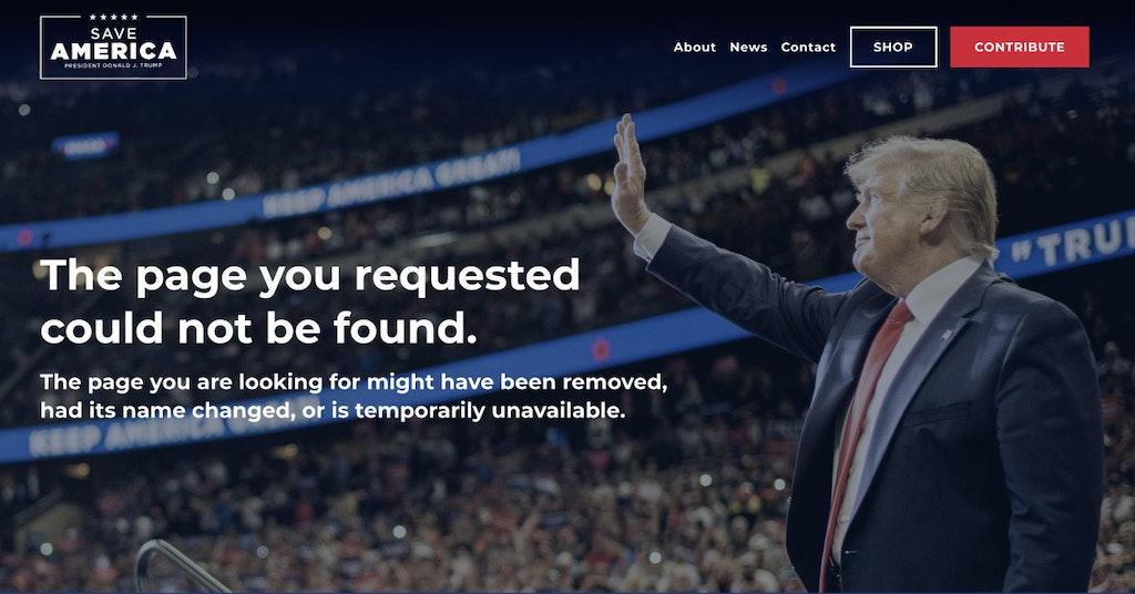 Screenshot of Donald Trump website error page