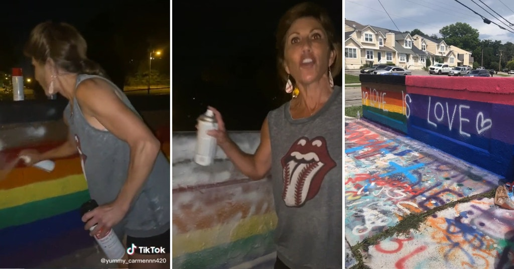 """Tennessee woman spray painting over a Pride flag mural and the mural repainted with the word """"love is love"""""""