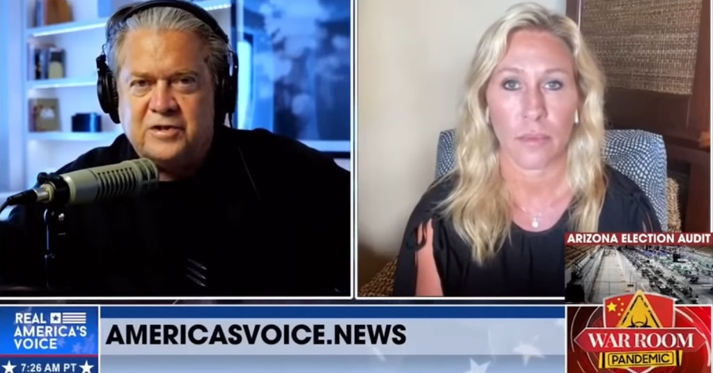 """Marjorie Taylor Greene on Steve Bannon's """"Real America's Voice"""" show"""