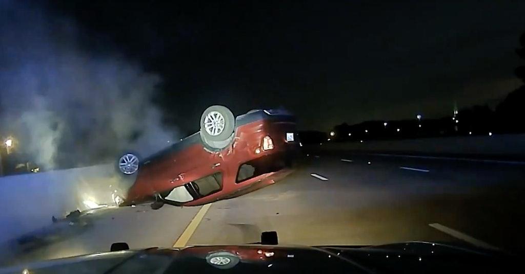 cop flips pregnant woman's car