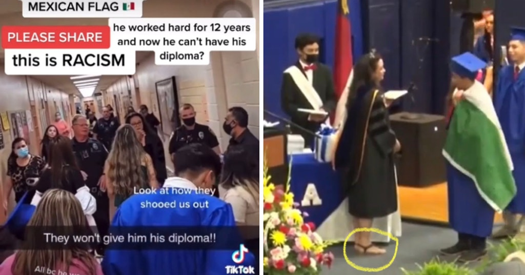 TikTok video of students being escorted through the halls by police and photo of Principal Crooks violating graduation dress code with open-toed shoes