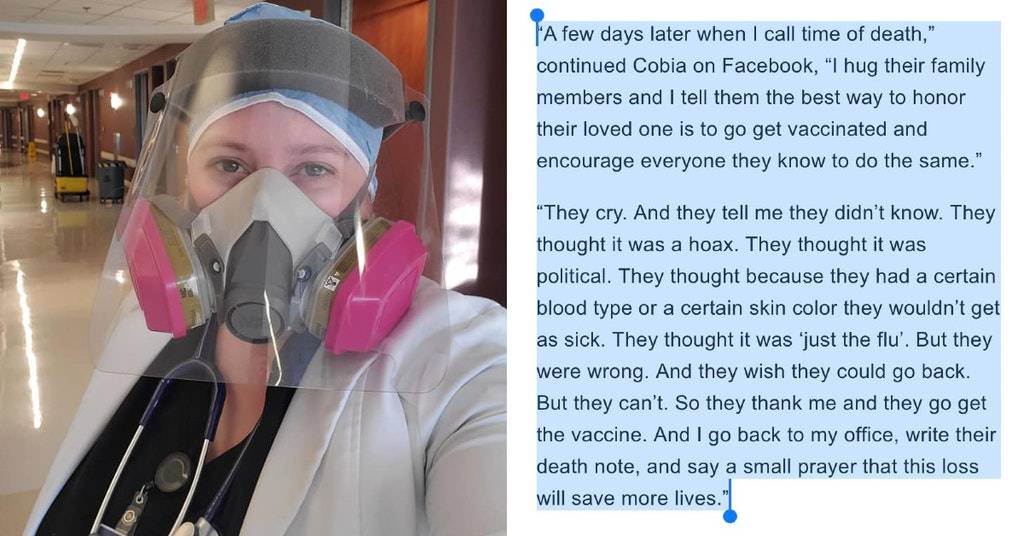 Dr. Brytney Cobia in protective gear and excerpt from article on her statement on COVID-denier patients