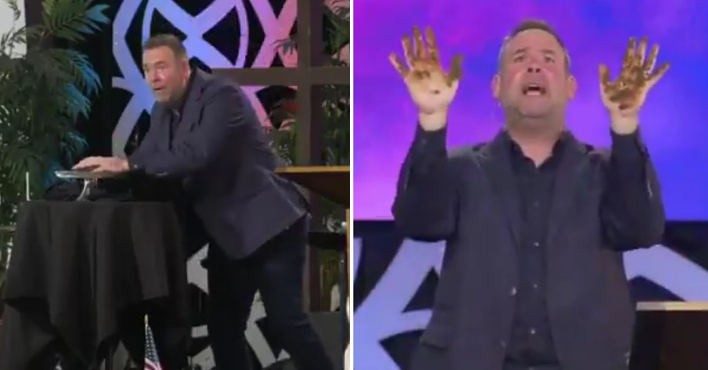 Pastor Dan Burgoyne touching dog poop and showing his poop-covered hands