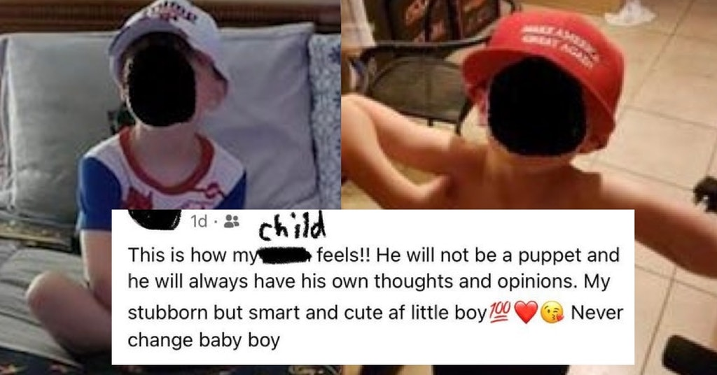 Mom Posts How Her Son Is 'Not A Puppet' After Putting Him In Trump 2024 Hat