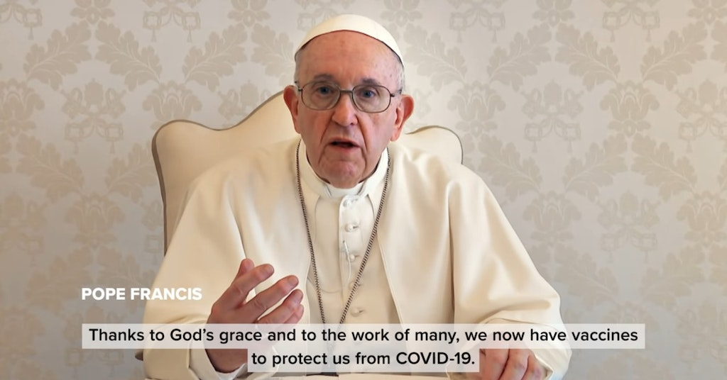 Pope Francis during his pro-vaccine PSA