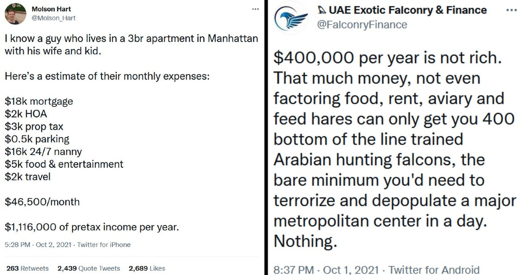 Tweet describing the monthly budget of someone making $1.1 million per year and tweet mocking the idea that $400,000 per year doesn't make you rich