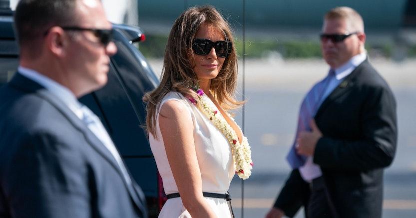 Melania Trump with security in Hawaii