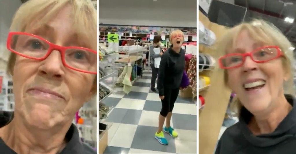 Anti-masker harassing a store customer