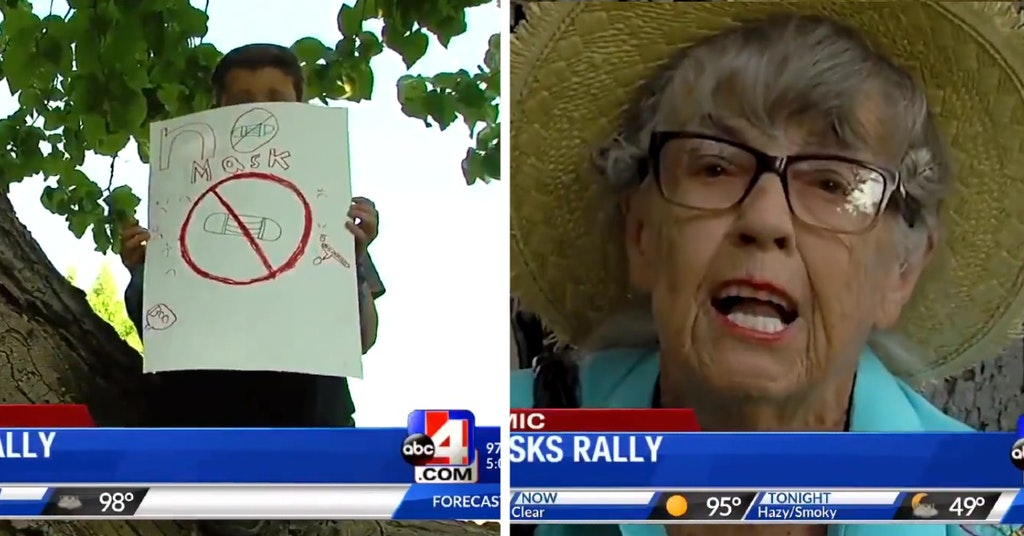 Anti-maskers protesting outside a school in Utah