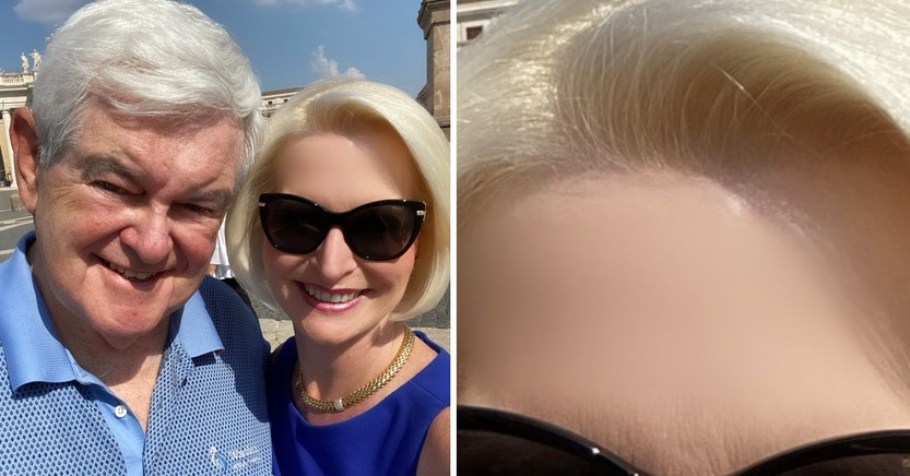 Facetuned photo of Newt and Callista Gingrich