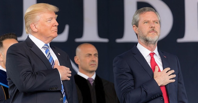Jerry Falwell Jr. and Donald Trump at Liberty University