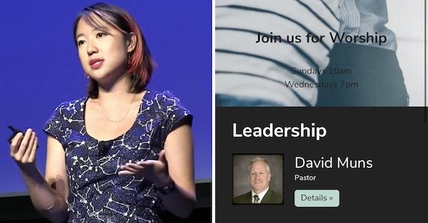 Sarah Jeong and screenshot of the Christian Life Church with Pastor David Muns