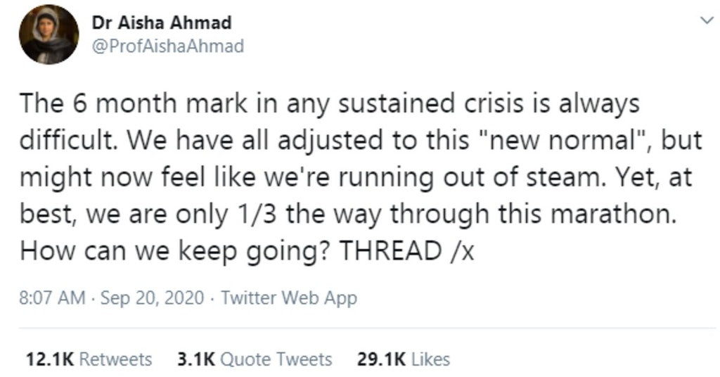 Start of Dr. Aisha Ahmad's Twitter thread on the six-month crisis slump