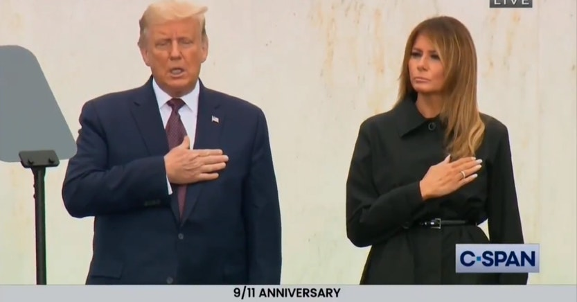 Donald and Melania Trump during the Pledge of Allegiance