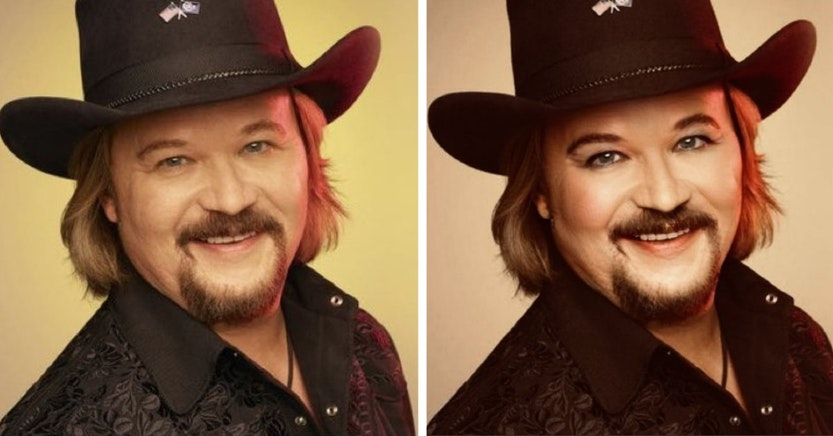 Travis Tritt with and without makeup