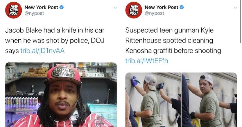 New York Post articles on Jacob Blake vs. Kyle Rittenhouse