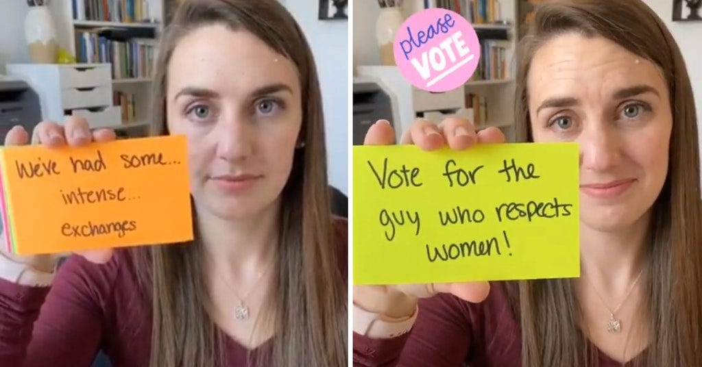 TikTok video of young woman telling the story of her dying conservative dad voting for Biden