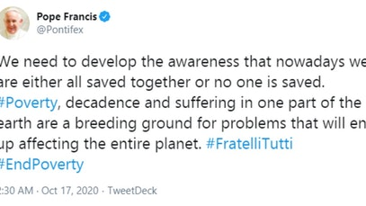 Pope Francis tweet calling for the end of poverty
