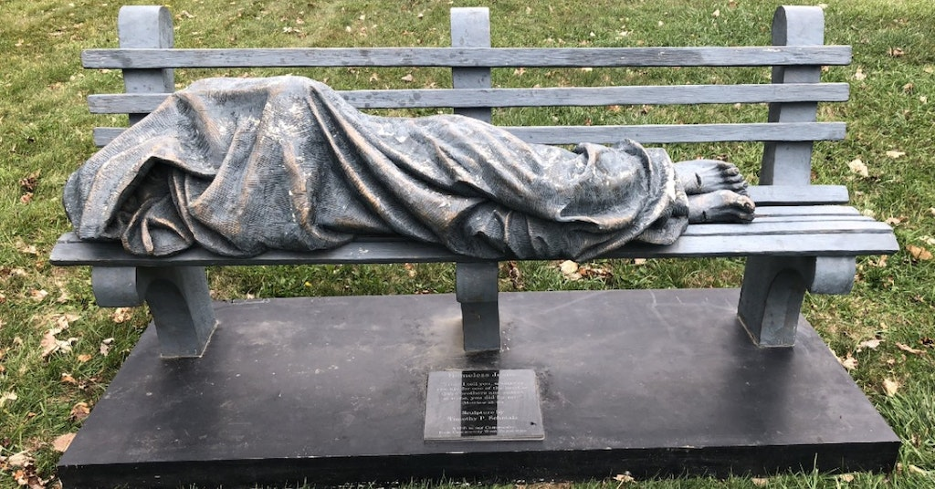 """Homeless Jesus"" statue in Cleveland, Ohio"