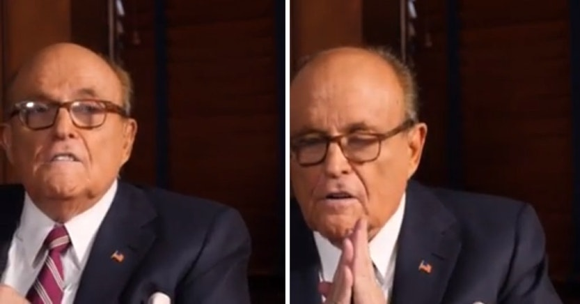 Rudy Giuliani doing a racist imitation of a Chinese person