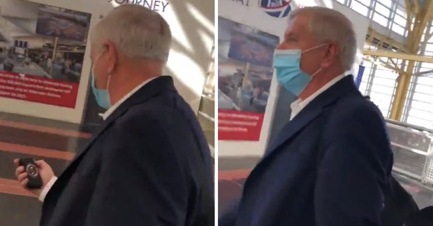 Senator Lindsey Graham being confronted at the airport